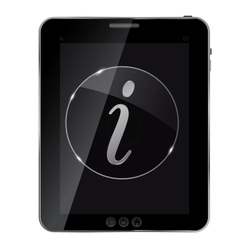 Glass information button icon on abstract tablet vector image