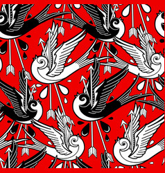 Graphic swallows pierced two arrows vector