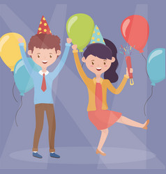 happy couple with cofetti and balloons celebration vector image