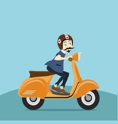 hipster young man rides a motorbike vector image