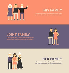 His Family Joint Family and Her Family Flat Design vector image