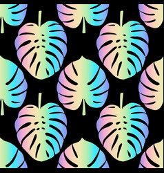 Holographic monstera leaves seamless pattern vector