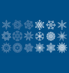 Huge set of blue snowflakes vector