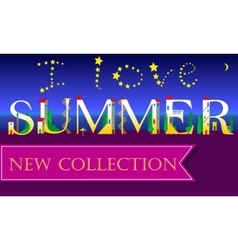 I love Summer New Collection Holiday houses Font vector