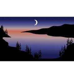 Lake at night scenery vector image