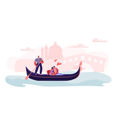loving couple sitting in gondola with gondolier vector image