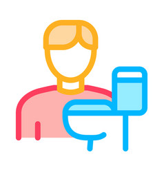 man and toilet icon outline vector image