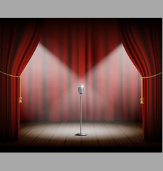 microphone stands on stage with a red curtain vector image