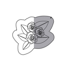 Monochrome contour sticker of bouquet bud roses vector