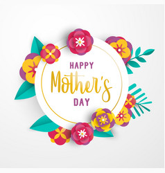 Mother day 3d paper flower greeting card template vector