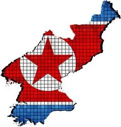 North Korea map with flag inside vector
