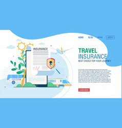 Online service for journey insurance landing page vector