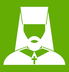 Orthodox priest icon green vector