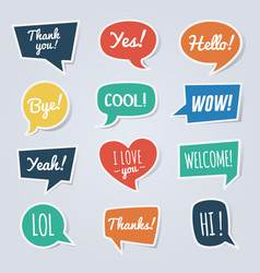 paper speech bubble with short messages thank you vector image