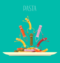 Pasta colored on a plate funny cartoon pasta on vector