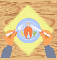 person is eating boiled salmon vector image