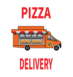 Pizza delivery truck with sunshede on white vector