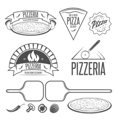 Pizza labels badges and design elements Vintage vector