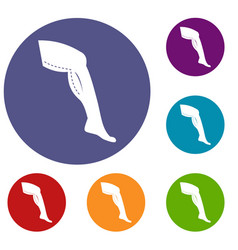 Plastic surgery of legs icons set vector