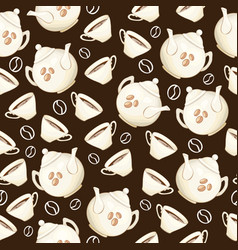 porcelain teapot and tea cup seamless pattern flat vector image