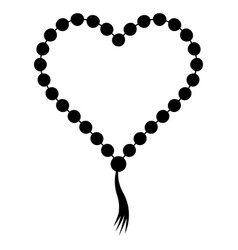 Prayer beads folded in shape a heart vector