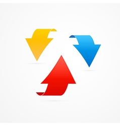 Red Blue and Yellow 3d Arrows vector image