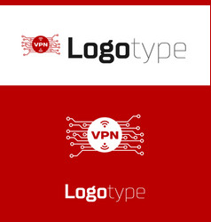 Red vpn in circle with microchip circuit icon vector