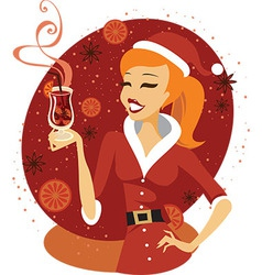 Santa girl with mulled wine vector image