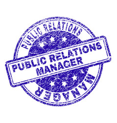 Scratched textured public relations manager stamp vector