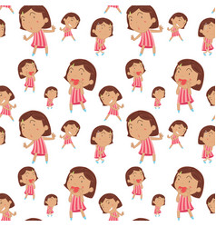 seamless background with happy girl vector image