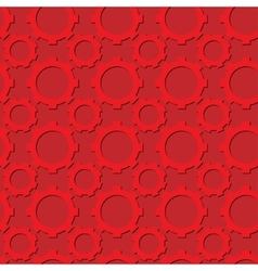 Seamless gear pattern red color with shadows vector image