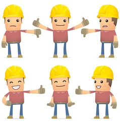 Set builder character in different poses vector