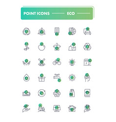 Set of 30 line icons eco vector