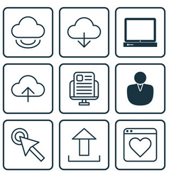set of 9 internet icons includes save data pc vector image