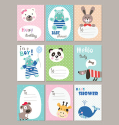 set of baby shower cards with cute animals vector image
