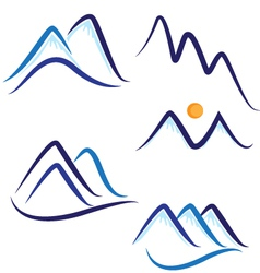 Set stylized mountains logo vector