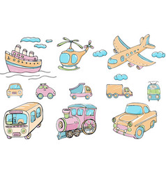 Set transports cartoon colored isolated vector