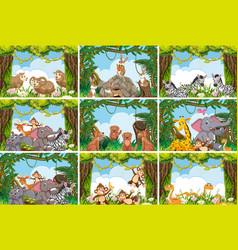 Set various animals in nature scenes vector