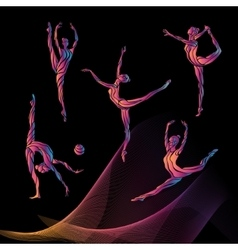 Silhouettes of gymnastic girls Art gymnastics vector image