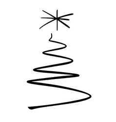 Simple christmas tree sketch vector