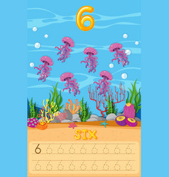 Six jellyfish underwater worksheet vector