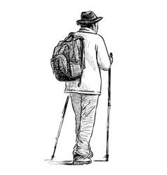 Sketch man doing sports norwegian walking vector