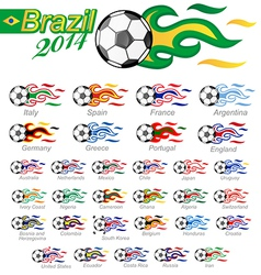 Soccer ball set with flag flame vector