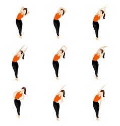 Standing cross legged side bend yoga asanas set vector