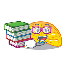 Student with book orange jelly candy mascot vector