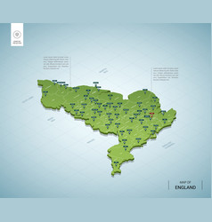 stylized map england isometric 3d green map vector image