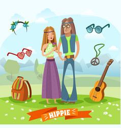 Subculture hippie composition vector