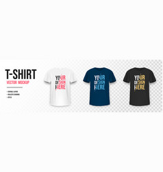 t-shirt mockup in black white and blue colors vector image