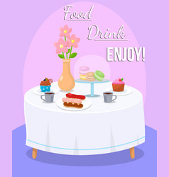 table for two with confectionery and hot drinks vector image