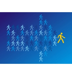 The crowd of workers follows the team leader vector image